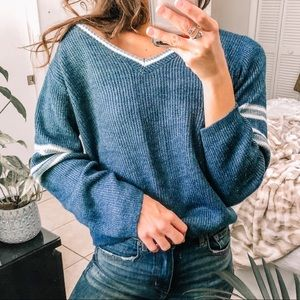 Varsity striped baggy midriff v neck sweater